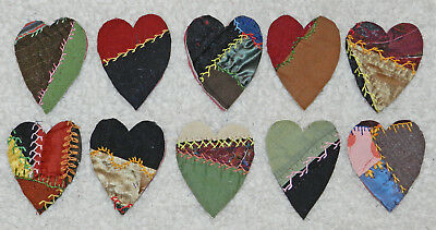 10 Primitive Antique Vintage Cutter Crazy Quilt Fat Hearts! Crafts #15
