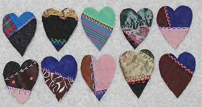 10 Primitive Antique Vintage Cutter Crazy Quilt Fat Hearts! Crafts #12