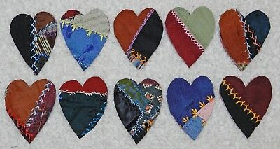 10 Primitive Antique Vintage Cutter Crazy Quilt Fat Hearts! Crafts #4