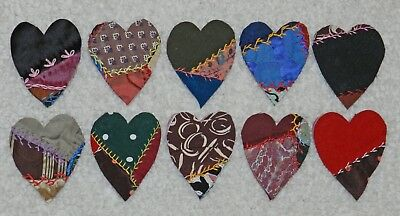 10 Primitive Antique Vintage Cutter Crazy Quilt Fat Hearts! Crafts #1