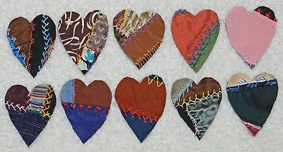 10 Primitive Antique Vintage Cutter Crazy Quilt Fat Hearts! Crafts #10