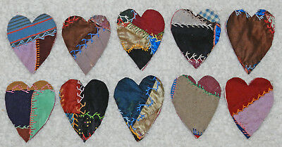 10 Primitive Antique Vintage Cutter Crazy Quilt Fat Hearts! Crafts #11