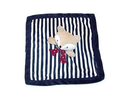 Levtex Baby Fox Blanket Navy Blue White Stripe Scarf Security Lovey