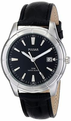 Pulsar PXH839 Men's Dress Black Dial Black Leather Band Date Analog Watch