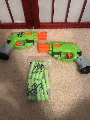 Lot of 2 Nerf Z-Strike DOUBLESTRIKE Zombie Strike Pistol Dart Guns with 10 Darts