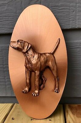 COPPER CAT Wall Plaque Vintage Copper Dog 3-D Resin Mid Century OVAL 10""