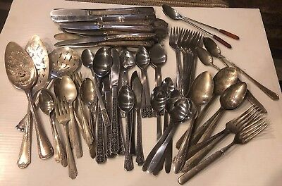 Lot of 65 Plus Mixed Stainless and Silver Plated Flatware for Use/Crafts
