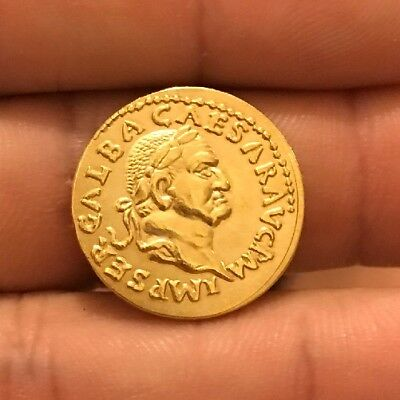 Restrike Gold Plated Roman Rome Coin Caesar Ancient