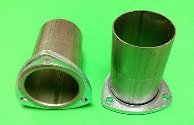 """3"""" Header To 3"""" Od 409 Stainless 3 Bolt 3/8 Thick Flange Gasket Style Collector"""
