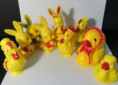 Vintage 1950's Irwin Plastic Rattle Toy Lot X 9 Pieces - Easter Themed - Rabbits