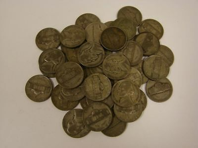 1942-1945 US 35% Silver WWII War Nickels 5 Cent Lot 40-Coins, 1 Roll, $2 Face