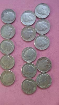 R125 Roosevelt 90% silver dime lot of 15 coins combine ship + $1 more per win