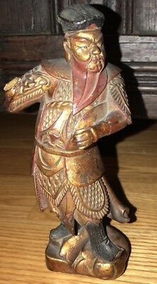 Chinese  Wood Carving Man Gold Gilt Painted Signed Antique