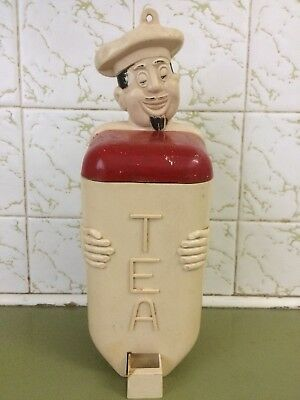 Vintage Jolly Chef Gay Ware Tea Canister, Gayware Kitchen Canister Fethalite,50s