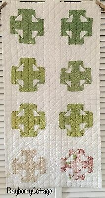 Antique Vintage Old Hand Pieced Double T Poison Green Early Print Quilt Piece #6