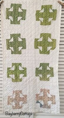 Antique Vintage Old Hand Pieced Double T Poison Green Early Print Quilt Piece #4