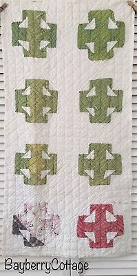 Antique Vintage Old Hand Pieced Double T Poison Green Early Print Quilt Piece #2