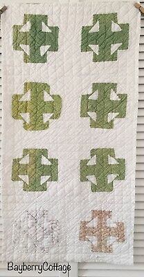 Antique Vintage Old Hand Pieced Double T Poison Green Early Print Quilt Piece #3