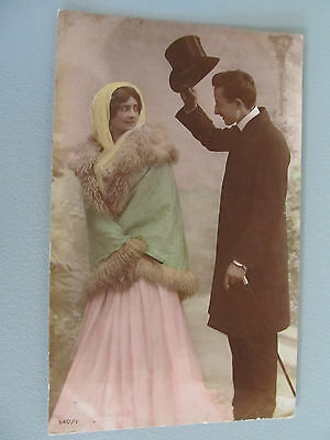 Antique Glamour Romantic Real Photo Couple Postcard - USED 1908