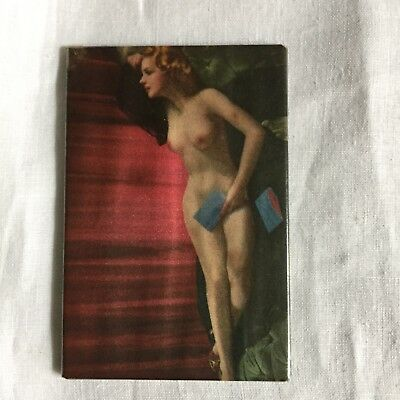 Antique Risque Pin Up Celluloid Pocket Mirror Nude With Book Vtg 1940s