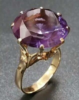 1950s Large Alexandrite Women Vintage Synthetic Round Ring 14K Yellow Gold 7.80G