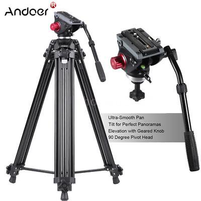 "Aluminum Heavy Duty 67"" inch DV Video Camera Tripod Stand Fluid Pan Head Kit US"