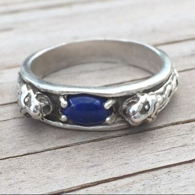 Medieval LION Ring .925 Sterling SILVER sz 11 with Natural Lapis Lazuli