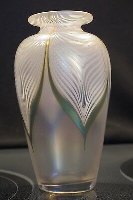 Vintage Signed 1987 Abelman Pulled Feather Iridescent Or Imperial Art Glass Vase