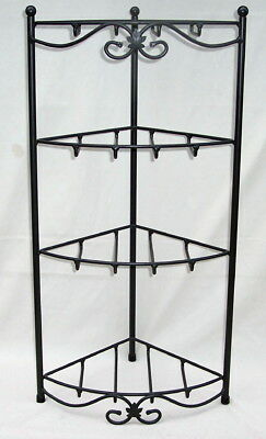 Longaberger CORNER STAND Wrought Iron 4 SHELVES Foundry Collection