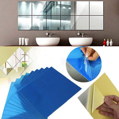 4pcs 3D Wall Stickers Square Mirror  Mosaic Tile DIY Decal Home Room Decor