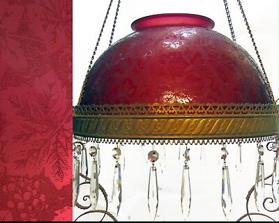 Antique Victorian Etched Cranberry Grape Leaves Parlor Banquet Lamp Shade Only