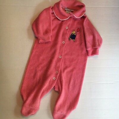 Vintage Paddington 6-9 Months Sleeper Pajamas Pink Infant Bear Infant