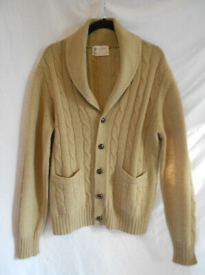 """Thane Vintage 60s Button Front Mr Rogers Sweater Cardigan Cableknit 44"""" Tan L"""