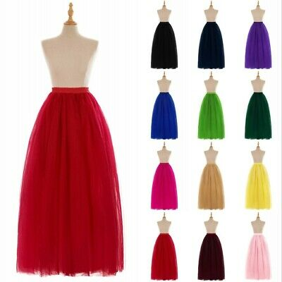 Layers Long Women Adult Tutu Tulle Skirt Petticoat Bridal Wedding Skirts Slips