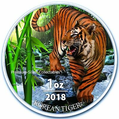 2018 South Korean Tiger, Siberian Tiger - 1 Ounce Pure Silver and Colorized!