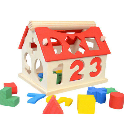 Kids Baby Educational Toy Wood House Building Intellectual Developmental Blocks
