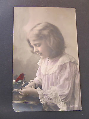 Antique Rotophat postcard of pretty young girl with Bird, posted Melbourne