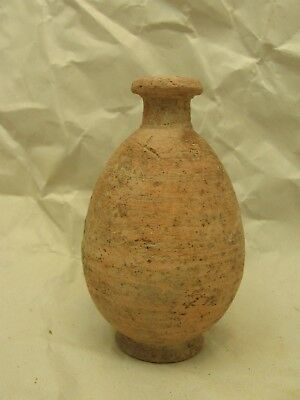 3 1/4  inch Ancient Roman Pottery Footed Perfume Bottle