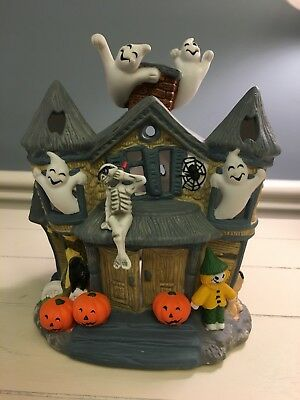 partylite halloween haunted tealight house candle holder retired euc p7311
