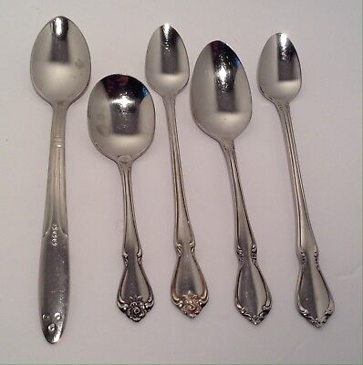 5 Baby Spoons Stainless Steel Infant Kids Toddler Flatware Oneida Rogers Sanitoy