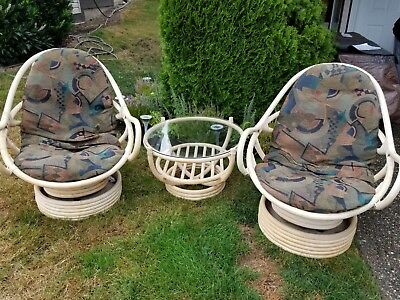 Replacement Cushions For Vintage Bomboo Rattan Swivel Rockers