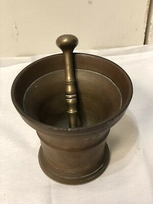 Antique SOLID BRASS Mortar and Pestle Apothecary/Pharmaceutical