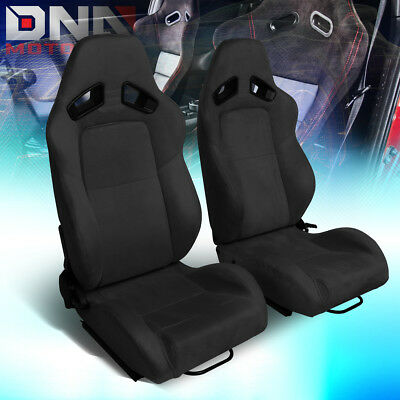Pair Lh+Rh Side Black Suede Fully Reclinable Sport Racing Seats+Universal Slider