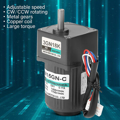 AC220V 15W Single Phase Asynchronous Gear Motor Adjustable Speed Motor+ Governor