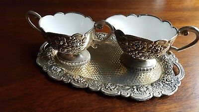Antique Vintage Sugar Bowl and Creamer with Tray Silver Plated Porcelain Set