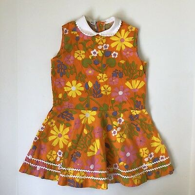 French Vintage Orange Dress Girls 4 5