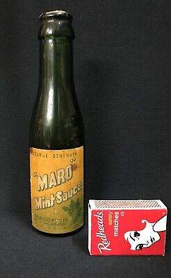 1920's Maro Mint Sauce Whacco Ltd Bottle Port Melbourne Label Cork Sealed Vict.