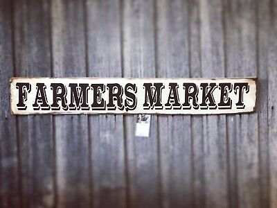FARMERS MARKET L100CM X H15CM  - Rustic Vintage Style Timber Sign