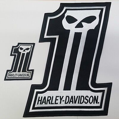 EXTRA LARGE Harley Davidson Skull #1 Patch SET (back emblem)
