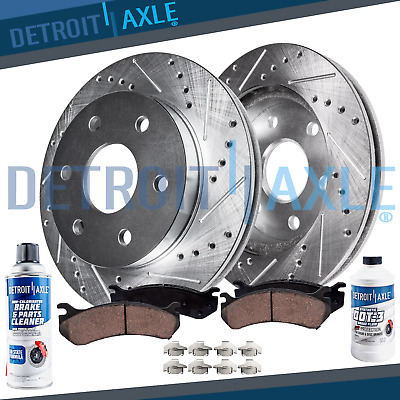 Front DRILLED Brake Rotors + Ceramic Pads for 2010 2011 2012 - 2016 Cadillac SRX